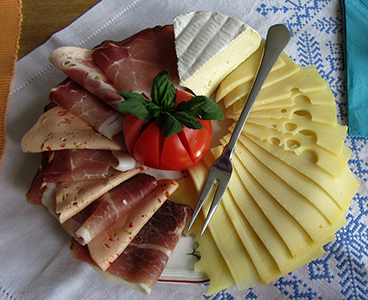 cheese and sausage plate